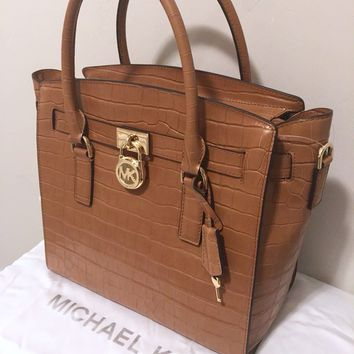 Michael Kors Hamilton LG EW CROCO Satchel Handbag Purse MK Bag $358 NWT