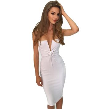 malianna New Spring Summer Sexy Women Sleeveless Deep V-Neck Bandage Bodycon Dress Lace Up Spaghetti Strap Midi Vestidos