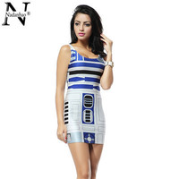 Star Wars Artoo 2015 New Print Dresses bandage dresses Women high quality Summer bandage dress Party Cub TTQ1046