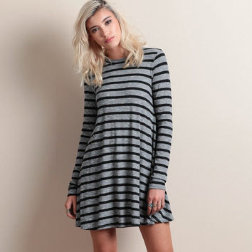 Grey Striped Long Sleeve Dress
