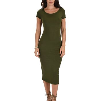 Lyss Loo Along The Lines Bodycon Olive Midi Dress