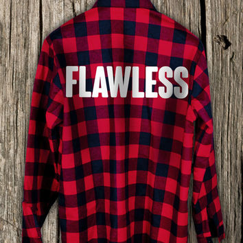 Shirt FLAWLESS Flannel Overprint Print Women Men Unisex High Quality 100% cotton