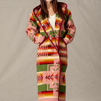 Womens Wool Long Coats, Reversible Native American Indian Pattern Long Coat