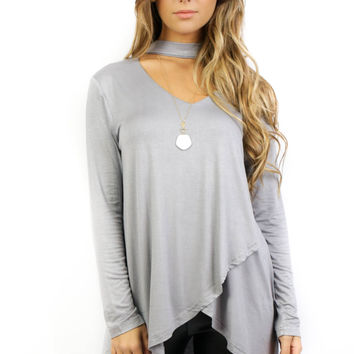 Grand Isle Gray Long Sleeve Tunic Top