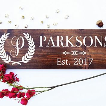 Personalized Family Name Sign Wedding Gift Custom Carved Wooden Signs Last Name Décor Established Wood Plaque Engraved .sign#M01