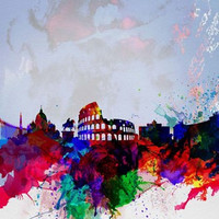 Rome Watercolor Skyline Poster Print by Naxart