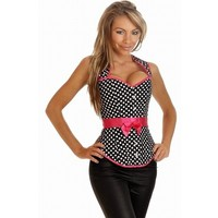Pink Ribbon Belted Black Spots Corset Ae 716123 Free Shipping! **New Lower Price!**