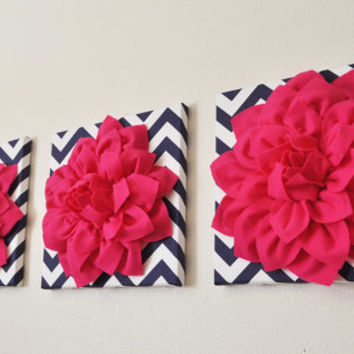 "SET OF THREE Wall Flower Decor. Hot Pink Dahlia on Navy and White Chevron 12 x12"" Canvas Wall Art."