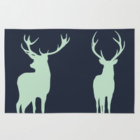 Navy Blue with Mint Deer Woven Rug