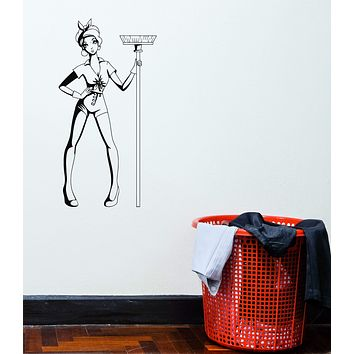 Vinyl Decal Girl Cleaning Cleaner Pin-Up Woman Mop Decor Wall Sticker Unique Gift (g072)