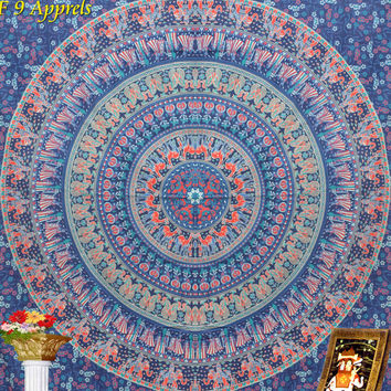 "Blue Indian Mandala Hippie Hippy Wall Hanging,Bed Spread Wall art,Beach Coverlet Throw,Elephant tatpestry,Wall Decor, Curtain 92"" x85"""