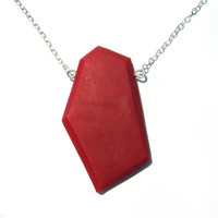 Geometric dark red pendant: red pendant on a sterling silver chain. Handmade red plastic necklace, faceted modern jewelry.  Cinnabar
