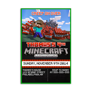 Minecraft TNT BOOMB Design Kids Birthday Invitation Party Design