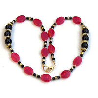 Red Black Gold Necklace, Formal Special Occasion Jewelry, Cherry Quartz Onyx, Short Color Block Necklace, OOAK Handmade Unique ALFAdesigns