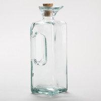 Square Green Glass Oil Bottle with Handle - World Market