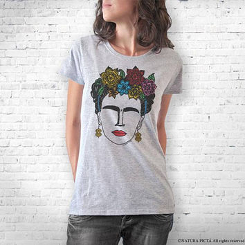 Frida Kahlo hand drawn T-shirt-Frida Kahlo tee-Frida Kahlo tank top-quote tee- gift for mom-college t-shirt-women tee-NATURA PICTA-NPTS160