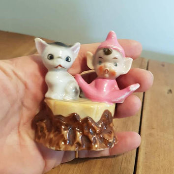 Vintage Pixie or Elf and Cat on a log Figurine kitsch Pink pixies Elves