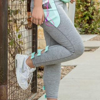 Jadelynn Brooke- FIT Bow Back Leggings (Grey/Mint)