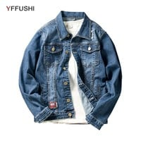 Denim Jacket Men Fashion Bomber Jackets Turn-down Collar Casual Loose Coat for Men