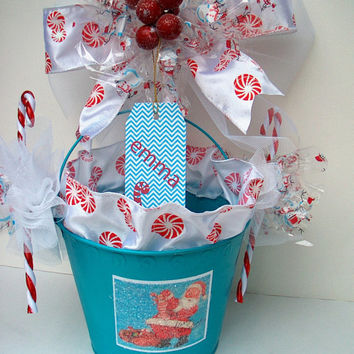 Christmas Pool Bin Caddy Bins Container Teen Holiday Gift Santa Claus College Dorm Room Candy Canes Peppermint Ribbon Personalized Glitter