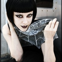 Gothic style silk scarf - silver spider web - alternative fashion