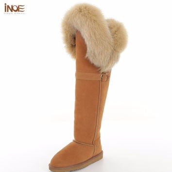 INOE fashion cow split leather real fox fur boots with buckle over the knee long winter sued snow boots for women winter shoes