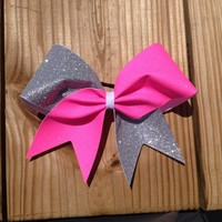 pink and silver glitter cheer bow