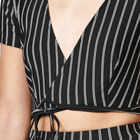Lisakai Stripe Side Tie Cropped Top at PacSun.com