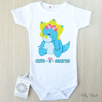 Dinosaur Baby Clothes. Cute and funny baby clothes with dinosaur print. Choose Your Color and Text. Trendy Baby Clothes.
