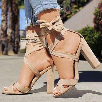 Pretty Beige Suede Block High Heel Sandals Fashionable Open Toe Ankle Wrap Lace Up Chunky Heel Dress Sandals Versatile Shoes