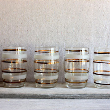 Mid-Century Tumblers Frosted and Gold Banded : vintage