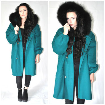 long turquoise WOOL parka vintage 80s long oversized CINCHED waist FUR trimmed hood anorak coat large os