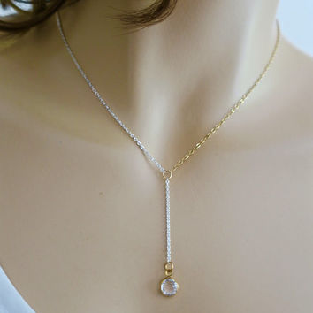 Lariat Necklace, Gold Fill Sterling Silver Chain Y Necklace, Two Tone Lariat, Girlfriend Daughter Gift, Delicate Necklace Simple just1gold