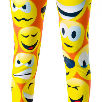 Dreaming Lover Emoji Emoticon Smiley Face Leggings Yellow One