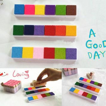 New 6 Colors DIY Craft Ink Pad Oil Based Print For Rubber Stamps Paper Wood Arts Crafts Paints
