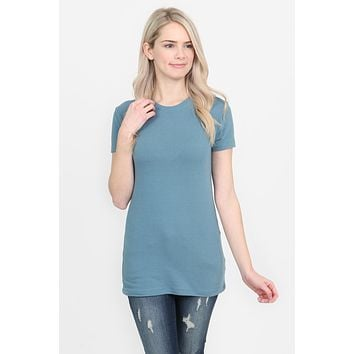 Basic Cotton Crew Neck Short Sleeve Top