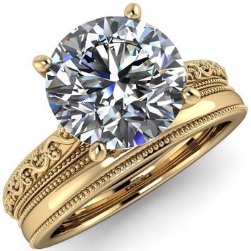 Elsa Round Moissanite Solitaire Milgrain 4 Prong Ring