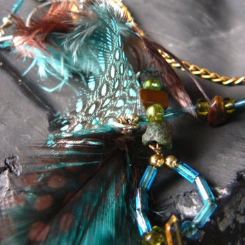 ear cuff hook  turquoise tigers eye  feathers gypsy boho hippie with chains beads hoops metals