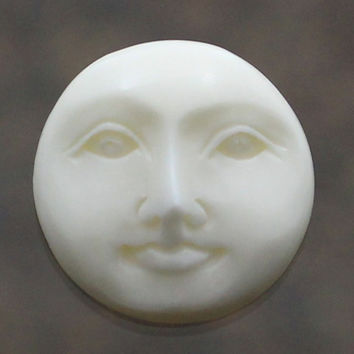 15mm - Eyes Open  - Face Cabochon, Carved Bone -