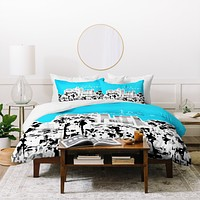 Bird Ave Los Angeles Aqua Duvet Cover