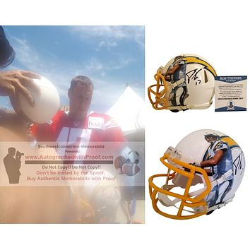 Philip Rivers Autographed L.A. Chargers Photo Riddell Mini Football Helmet, Proof Photo, Beckett S38137