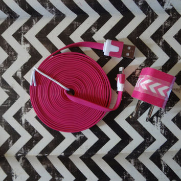 New Super Cute Pink & White Chevron Designed Wall iphone 5/5s Charger + 10ft Hot Pink Flat Tangle Free Cable Cord Super Long