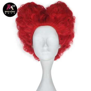 Queen of Hearts Hot Red Women Adult Wig Short Curly Hair Hot Red Cosplay Wig