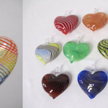 HEART GLASS Pendants -  lot of 10 - Jumbo Hollow - WHOLESALE