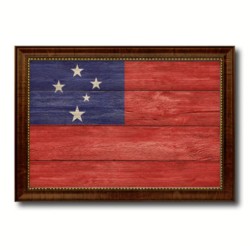Western Samoa Country Flag Texture Canvas Print with Brown Custom Picture Frame Home Decor Gift Ideas Wall Art Decoration