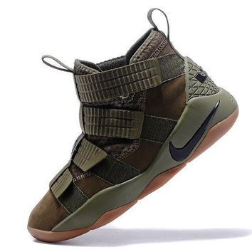 Nike LeBron Soldier 11 Army Green Men Basketball Sneakers Sports Shoes
