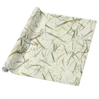 Forest Green Beige Organic Leaves Wrapping Paper