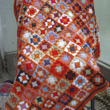 ON SALE - 10% OFF Granny Square Crochet Blanket...Colorful Knitting Patchwork Lap Afghan...