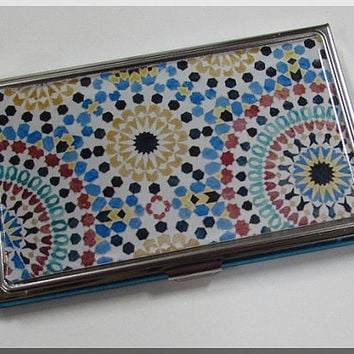 Business Card Holder Case Wallet Spanish Tile