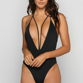 New Sexy Black Color Bikini Swimsuit  Swimwear Thong One Piece  High Waist Cut Bandage Strappy Mujer Maillot De Bain